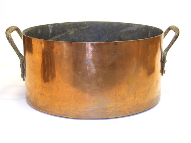 A large copper two handled stock pot late 19th century