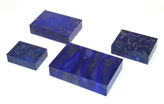 Four Italian lapis lazuli or sodalite table boxes late 20th century