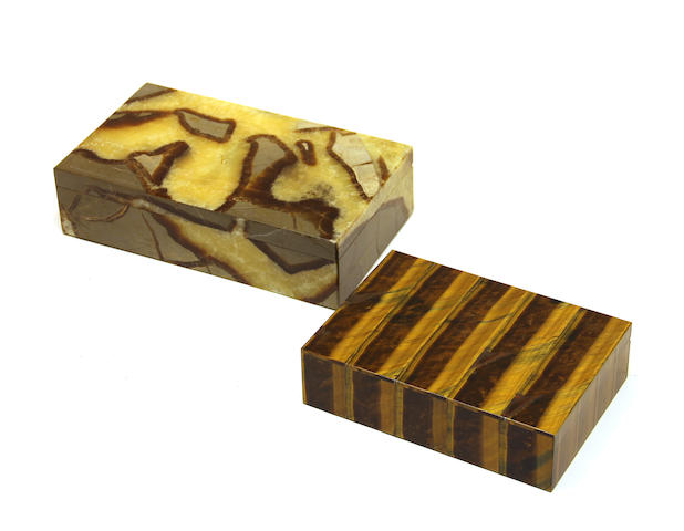 An Italian septera table box and an Italian tiger's eye table box late 20th century