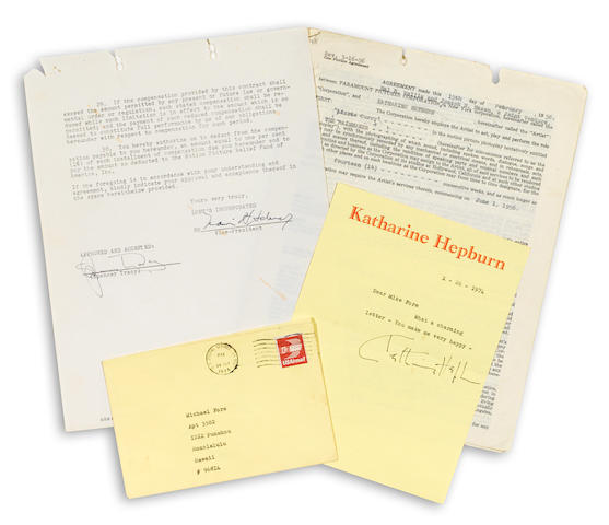 A group of Katharine Hepburn and Spencer Tracy signed documents