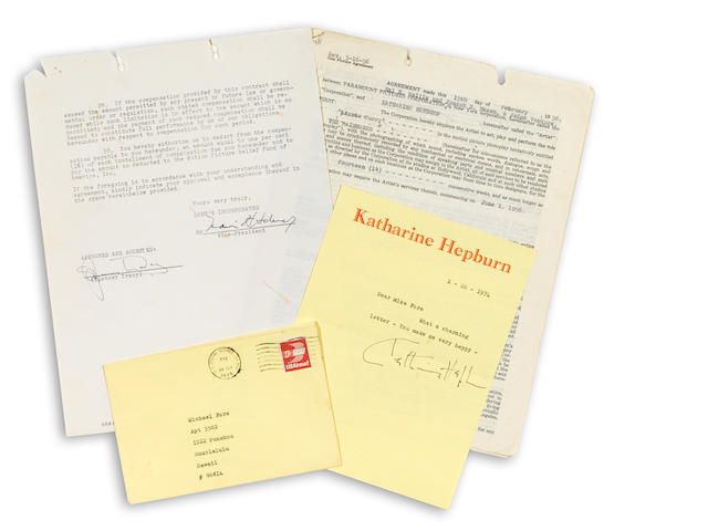 A Katharine Hepburn and Spencer Tracy group of signed documents