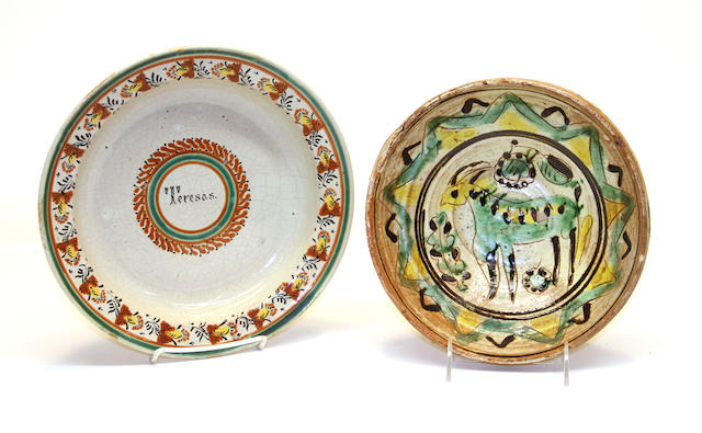 A Spanish pottery bowl and a 'name' deep plate 18th/19th century