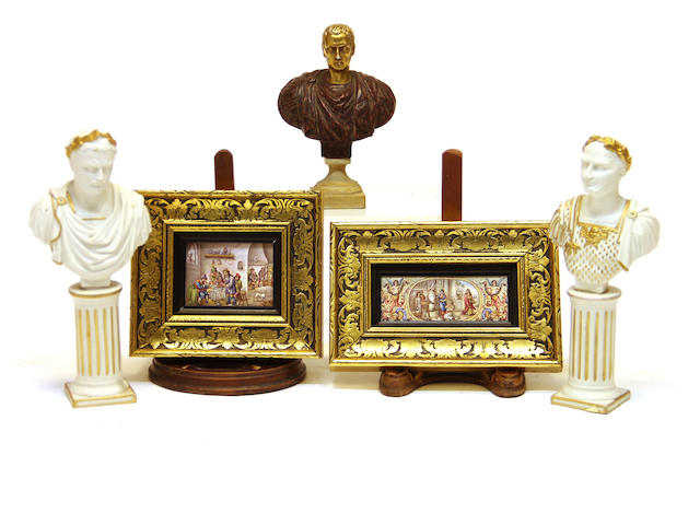 Two Vienna enamel plaques and three Neoclassical style porcelain busts early 20th century