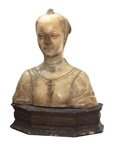An Italian alabaster bust of a noblewoman, probably Lucrezia Tornabuoni Medici (1427-1482)  after a model by Desiderio da Settignano (Italian, c. 1430 – 1464)<BR />19th century