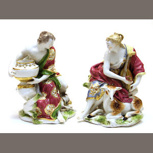 A pair of Continental porcelain Classical figures late 19th century
