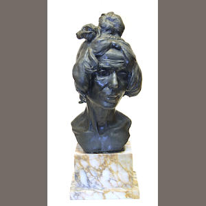 An Italian patinated bronze portrait bust of a woman F. Bruno foundry, Rome.  early 20th century