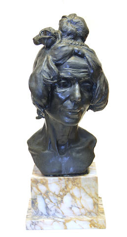An Italian patinated bronze portrait bust of a woman F. Bruno foundry, Rome<BR /> early 20th century