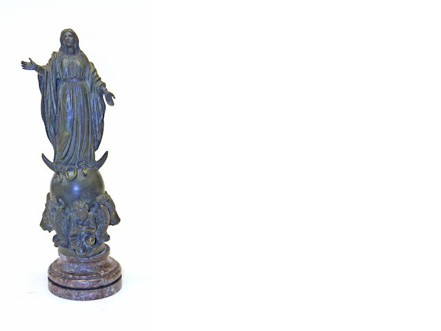 A Renaissance style patinated bronze figure of Virgin early 20th century