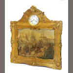 A Continental tôle and gilt gesso musical picture clock late 19th century
