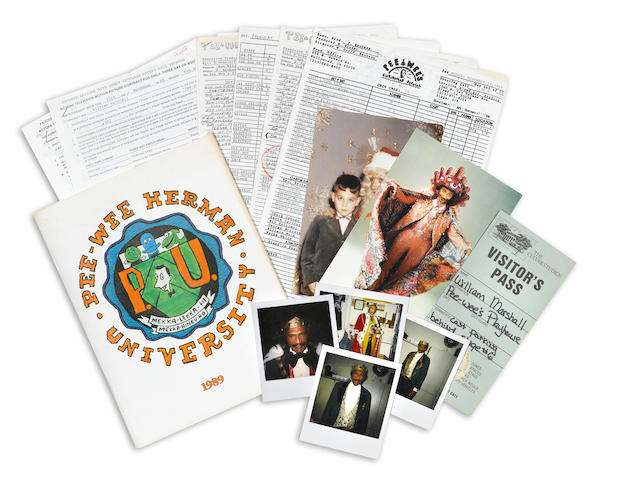 "Pee-Wee's Playhouse group lot- Press release/clippings sent to William Marshall, shooting schedule, 2 copies of contract, ""Day out of Days"" sheet, 3 call sheets,  Laurence Fishburne jacket order form, Pee-Wee Herman University 1989 yearbook, 2 Christmas cards from Paul Reuben (1993, 1996), 8 Polaroids of Marshall in character"