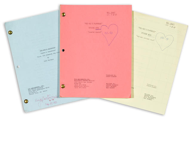 PEE-WEE'S PLAYHOUSE SCRIPTS-  13 SETS OF REVISED SCRIPT PAGES, 19 COMPLETE OR NEARLY COMPLETE SCRIPTS.