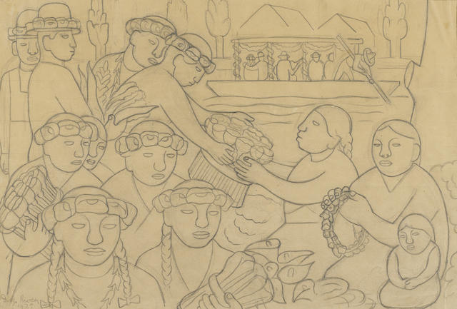 Diego Rivera (Mexican, 1886-1957) Untitled sight 13 x 19 1/8in. (33 x 48.5cm)