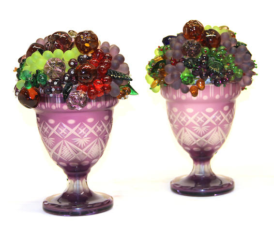 A pair of Czechoslovakian cut and molded glass fruit novelty lamps