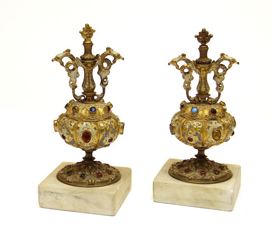 A pair of Renaissance style gilt bronze, enamel and paste jewel mantel ornaments  late 19th century