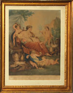 Two framed English allegorical colored prints: Innocence and Happines after a painting by John Boydell (1719-1804)