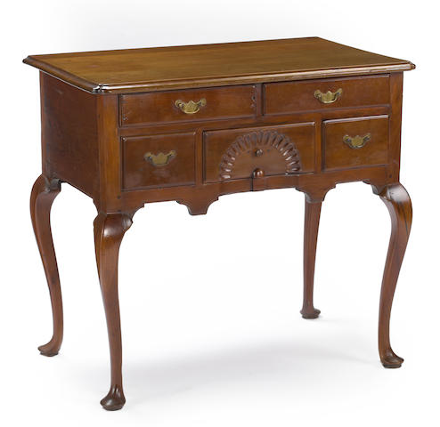 A Queen Anne carved cherry wood dressing table<BR />Possibly New Jersey or Delaware Valley<BR />mid 18th century