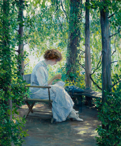 Guy Rose (American, 1867-1925) Woman sewing 29 x 24in