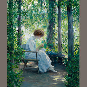 Guy Rose, Woman Sewing in a Garden, oil on canvas