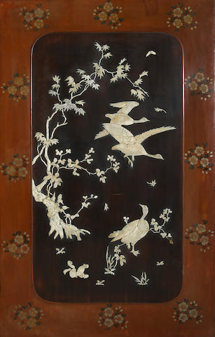 A pair of export lacquered wood decorative panels with bone overlay decoration Japan, Meiji period