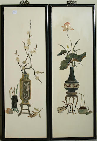 A pair of Chinese hanging panels