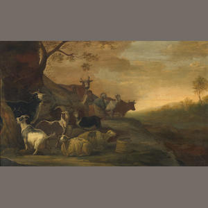 Franz (Francois) Ryckhals (Dutch, 1600-1647) A landscape with goats, sheep and cows with a herdsman and a milkmaid in the background 20 x 33 1/4in (50.8 x 84.3cm)