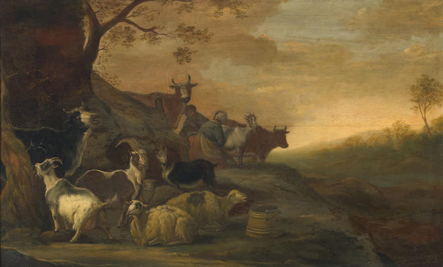 Franz (Francois) Ryckhals (Dutch, 1600-1647) A landscape with goats, sheep and cows with a herdsman and a milkmaid in the background 20 x 33 1/4in
