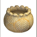 An Indian carved marble lotus bowl