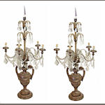A pair of Neoclassical style silvered wood, tôle and glass five light candelabra 20th century