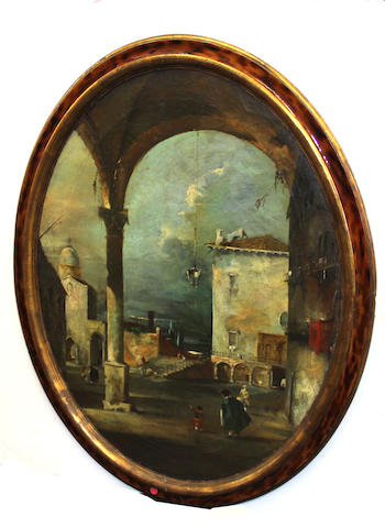 An oval oil on canvas Italianate capriccio 20th century