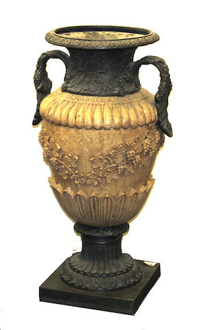 A Neoclassical style fiberglass two-handled urn possibly Frontgate<BR />late 20th/early 21st century