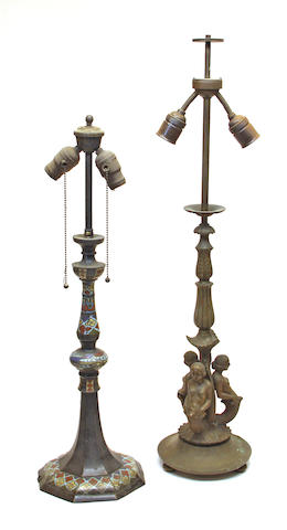 Two bronze table lamps early 20th century