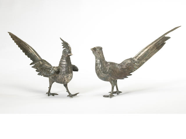 A Peruvian sterling assembled pair of standing pheasant figures