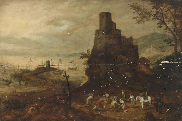 Circle of Joos de Momper the Younger (Antwerp 1564-1635) Fishermen with the day's catch before a tower and a busy harbour in the distance 17 1/2 x 26 1/4in (44.5 x 66.6cm)