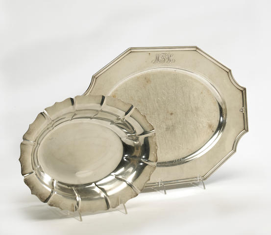 A sterling group: 16in platter and an open oval vegetable bowl Gorham Mfg. Co., Providence, RI, dated 1929 Tuttle Silversmiths, Boston, MA, circa 1930, retailed by Bailey, Banks and Biddle Co.  King Albert, # A6616, monogrammed: MFK Dublin, # 75  (2)