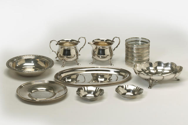 A sterling and sterling mounted group of table articles  (14)