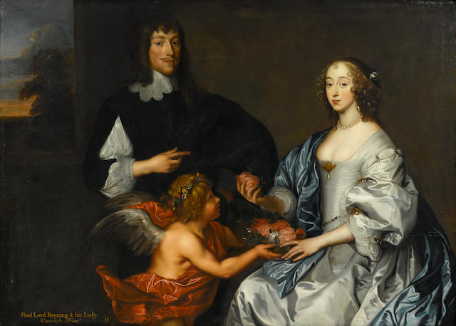 School of Anthony Van Dyck, Paul Bayning and his lady, inscribed, oil on canvas, 52 x 72in