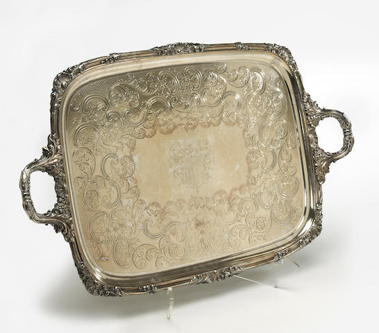 A Sheffield plate tea tray with flat chased decoration by Waterhouse, Hatfield & Co., Sheffield, circa 1840 with armorial