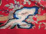 Two large red satin ground embroidered panels Late Qing/Republic period