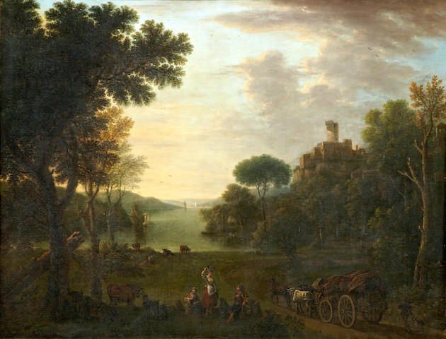 John Wootton (Snitterfield 1682-1764 London) An extensive river landscape with figures and a wagon on a track 42 1/2 x 55in (108 x 139.7cm)