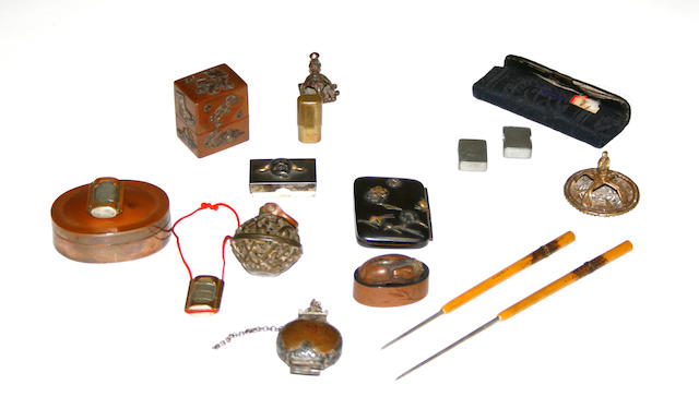 A group of Japanese miniature metal decorations
