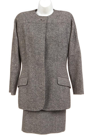 A Geoffery Beene grey and black jacket and skirt suit