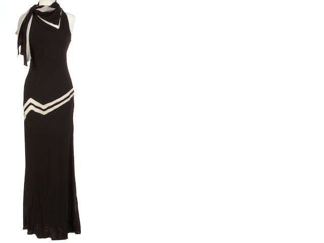 A Jackie Rogers black and cream chiffon halter gown
