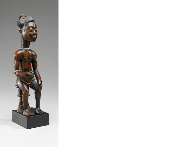 Baule Seated Male Figure, Ivory Coast