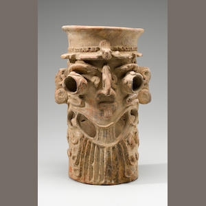 Large Colima Tubular Effigy Incense Burner,. Early Postclassic, ca. A.D. 900 - 1200