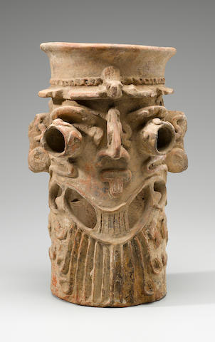 Large Colima Tubular Effigy Incense Burner,<BR />Early Postclassic, ca. A.D. 900 - 1200