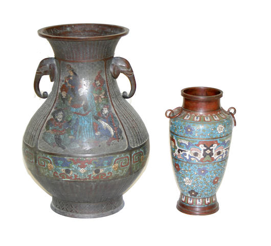 Two champlevé enameled metal vases Meiji period