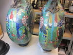 A pair of cloisonné enameled moon flasks Late 19th century