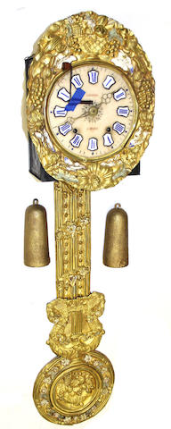 A French gilt, polychrome brass and alabaster morbier wall clock dial inscribed Lallot a Doyet<BR />second half 19th century