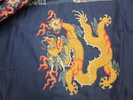 A blue silk ground embroidered dragon robe 19th century