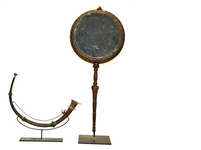 Two Asian ritual musical instruments